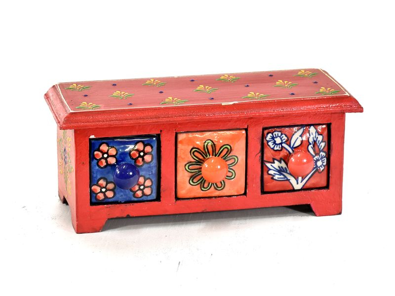 Skříňka s 3 keramickými šuplíky, ručně malovaná, dřevo, 23,5x10,3x9,5cm