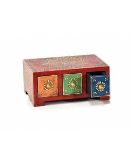 Ručně malovaná dřevěná skříňka se 3 šuplíky, 19x14x8cm