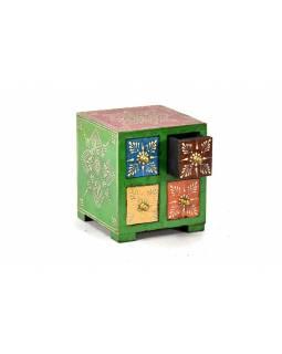 Ručně malovaná dřevěná skříňka se čtyřmi šuplíky, 14x14x14cm