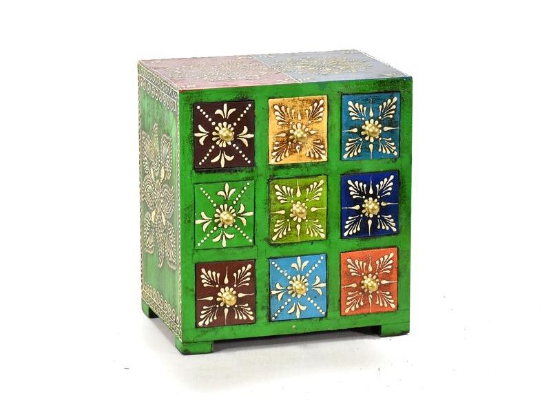 Ručně malovaná dřevěná skříňka s devíti šuplíky, 19x14x22cm