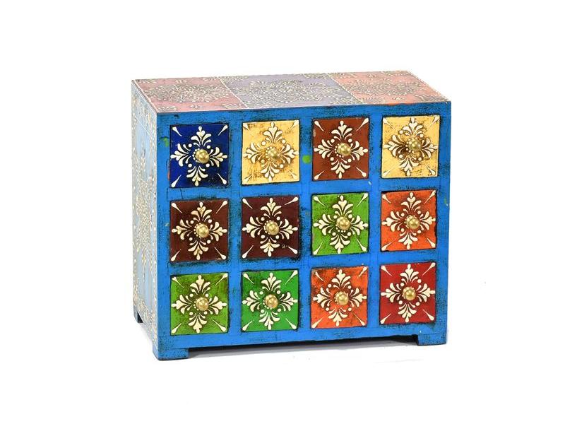 Ručně malovaná dřevěná skříňka s dvanácti šuplíky, 14x25x21cm
