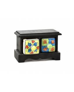 Skříňka s 2 keramickými šuplíky, ručně malovaná, mangové dřevo, 17x10x12cm