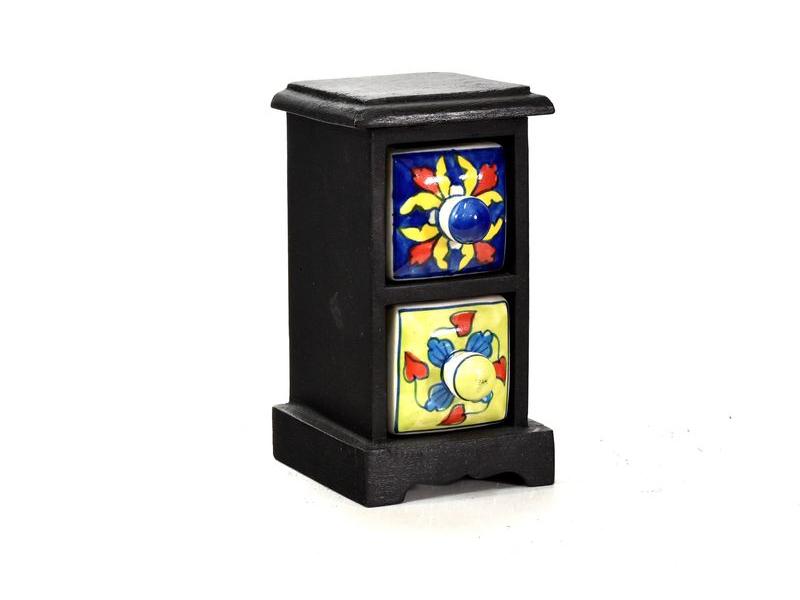 Skříňka s 2 keramickými šuplíky, ručně malovaná, mangové dřevo, 9x10x18cm