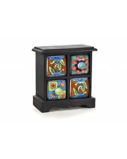 Skříňka s 4 keramickými šuplíky, ručně malovaná, mangové dřevo, 18x10x18cm