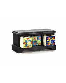 Skříňka s 3 keramickými šuplíky, ručně malovaná, mangové dřevo, 25x9x12cm