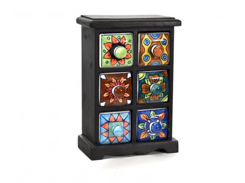Skříňka s 6 keramickými šuplíky, ručně malovaná, mangové dřevo, 17x10x25cm