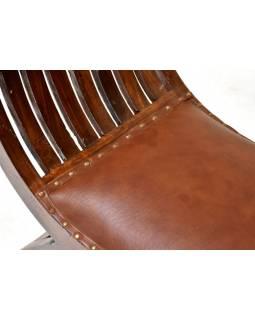 Sedátko z palisandrového dřeva a kůže, 121x60x35cm
