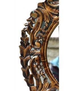 Kulatý rám se zrcadlem, ručně vyřezávaný, zlatá patina, prům. 60cm