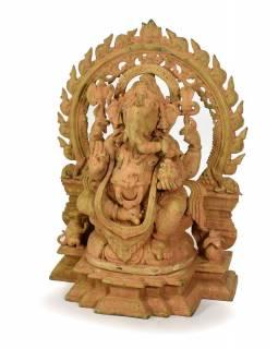 Mosazná soška Ganeši, antik patina, 35x18x48cm