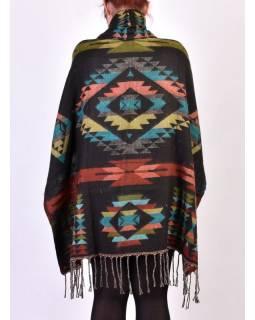 Krátké vzorované pončo s límcem a třásněmi, vzor aztec, kapsa