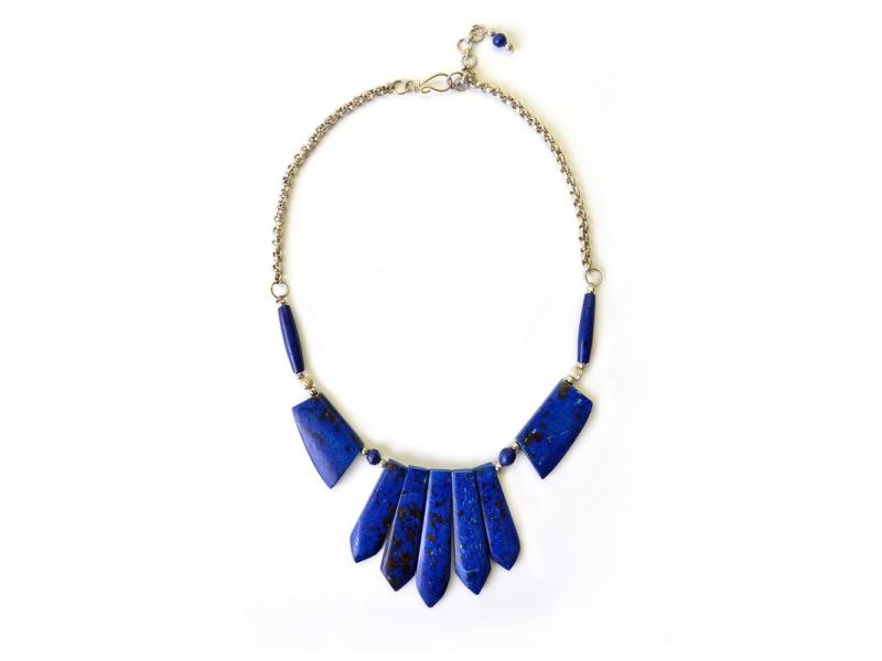 Tmavě modrý kostěný náhrdelník s pěti paprsky, 48cm
