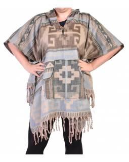 Krátké vzorované pončo s kapucí a třásněmi, vzor aztec natural, kapsa