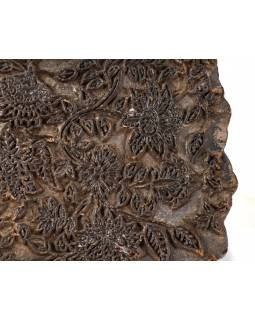 Antik dřevěná raznice na tisk přehozů s motivem květin, block print, 16x16cm