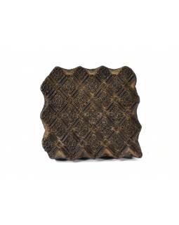 Antik dřevěná raznice na tisk přehozů s motivem ornament, block print, 16x16cm