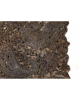 Antik dřevěná raznice na tisk přehozů s motivem paisley, block print, 20x18cm