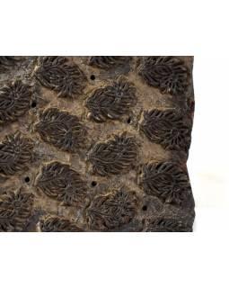Antik dřevěná raznice na tisk přehozů s motivem floral, block print, 15x14cm