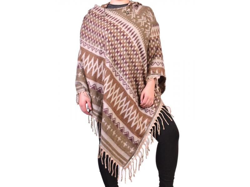 Krátké vzorované pončo s kapucí a třásněmi, vzor aztec natural