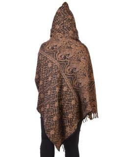 Krátké vzorované pončo s kapucí a třásněmi, vzor paisley ornament