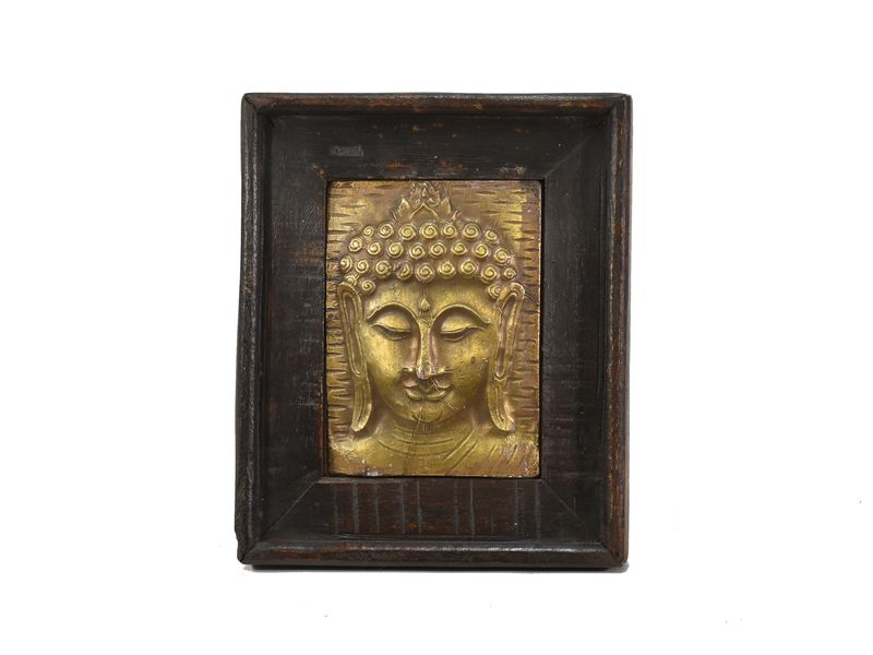 Obraz recyklovaného teakového dřeva, relief Buddhy z tepaného kovu, 25x29x3cm