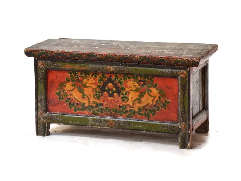 Ručně malovaný antik rituální stolek z centrálního Tibetu, borovice, 88x36x44cm