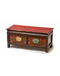 Ručně malovaný antik rituální stolek z centrálního Tibetu, borovice, 73x33x41cm