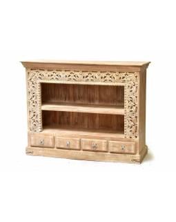 Knihovna z mangového dřeva, ruční řezby, 4 šuplíky, 154x42x112cm