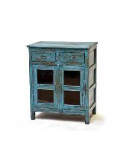 Stará skřínka z teakového dřeva, modrá patina, anitk