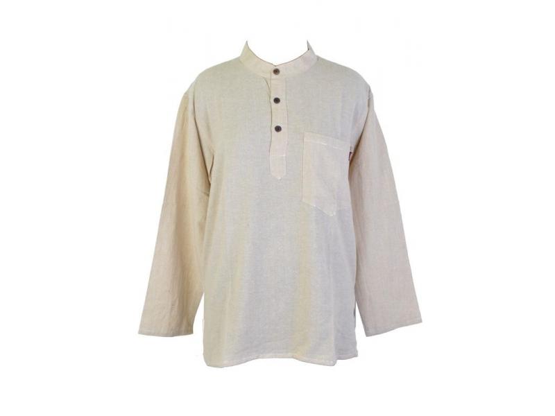 Béžová pánská košile-kurta s dlouhým rukávem a kapsičkou