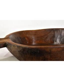 Dřevěná mísa z teakového dřeva, antik, 71x39x10cm