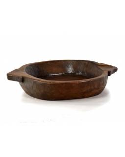 Dřevěná mísa z teakového dřeva, antik, 66x52x10cm