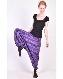 """Turecké kalhoty, """"Patchwork design"""", fialová, stonewash, žabičkování"""