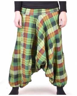 """Turecké kalhoty, """"Patchwork design"""", zelená, stonewash, žabičkování"""