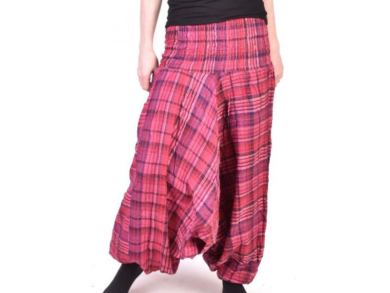 """Turecké kalhoty, """"Patchwork design"""", růžpvá, stonewash, žabičkování"""