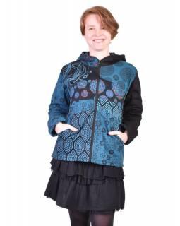 Modrá mikina s kapucí zapínaná na zip, mix potisků, kapsy a výšivka