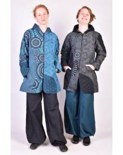 Tyrkysový kabátek s kapucí, mandala print, zapínání na zip a kapsy