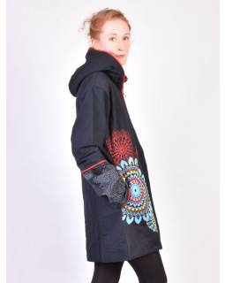 Černo-červený kabát s kapucí zapínaný na zip, barevný Mandala potisk, lemy