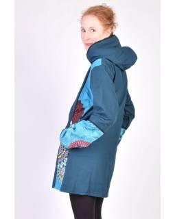 Tyrkysový kabát s kapucí zapínaný na zip, barevný Mandala potisk, lemy