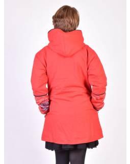 Červený kabát s kapucí zapínaný na zip, barevný Mandala potisk, lemy