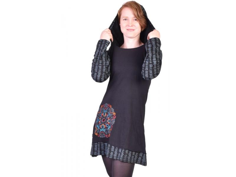 Krátké černé šaty s kapucí a dlouhým rukávem, Mantra design, výšivka