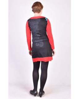 Černé šaty s dlouhým rukávem, Mandala potisk, V výstřih