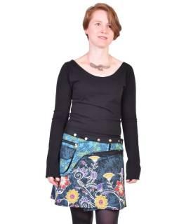 Krátká čená sukně zapínaná na svočky, Lace design, potisk, kapsička