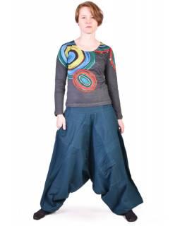 Petrolejové turecké kalhoty s kapsou
