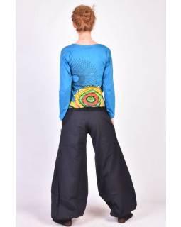 Dlouhé černé balonové kalhoty s manžestrem, zip a knoflíky, výšivka, kapsy