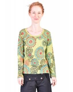 Limetkově zelené tričko s dlouhým rukávem, mandala potisk a ruční výšivka