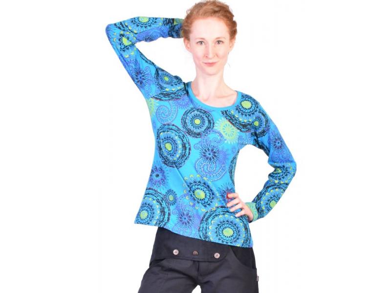 Tyrkysové tričko s dlouhým rukávem, mandala potisk a ruční výšivka
