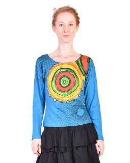 Tyrkysové tričko s dlouhým rukávem, Mandala potisk, kulatý výstřih