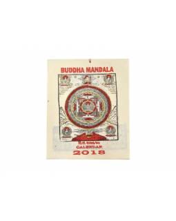 Kalendář, rýžový papír, Buddha Mandala, 23x30cm