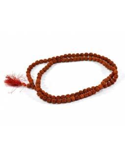 Mala Rudraksha, 108 korálků, průměr 10mm, délka 54cm, obvod 108cm