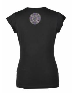 Černé tričko na jógu z bio bavlny, výšivka Chakra a potisk