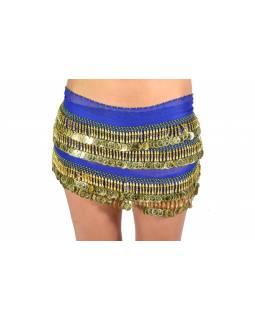 Šátek s penízky na břišní tance, modrý se zlatem